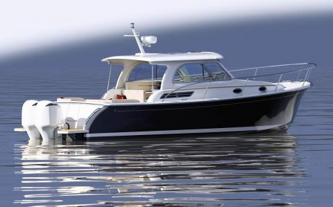 """Back Cove Yachts introduces the Back Cove 34O. (Yes """"O"""" is for outboard)"""