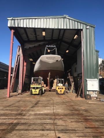 Schooner Bowdoin hauled for hull work