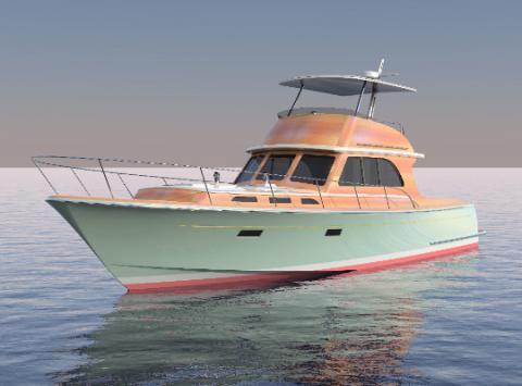 Innovative 57' express cruiser will merge wood and fiberglass