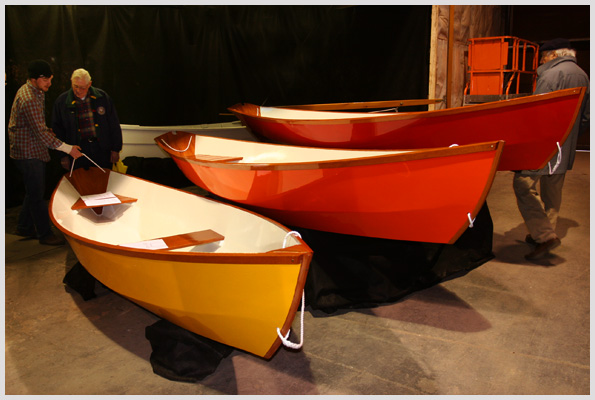 Three colorful dories